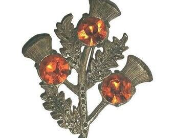 Art Deco THISTLE BROOCH, Vintage Scottish Flower Marcasite & Orange Rhinestone Pin Broach Antique Jewelry Scotland Wedding Bride Gift Groom