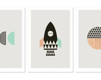 Little Rocket Series of three prints (Black and Aqua.)