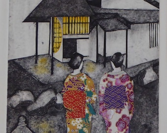 Time for Tea - Collagraph  with Collage. Japanese ladies in kimono, Tea House.