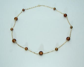 """Vintage 14K Yellow Gold Necklace Beads Chocolate Pearl Murano Glass Italy 20"""""""