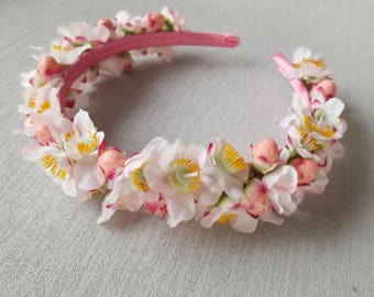 Floral Head Band -  Pink Geraldton Wax Flower Headband - Native Flowers on Alice Band, Wedding Flowers