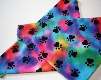 Rainbow Paw Prints Tie Dye Dog Scarf Over the Collar Dog Bandana
