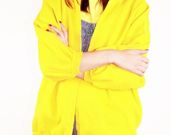Slouchy Mustard Cardigan / Yellow Oversized Sweater / OS S M L