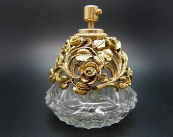Spray Perfume Scent Bottle Gold Ormolu Rose Design teamvintageusa ecochic team