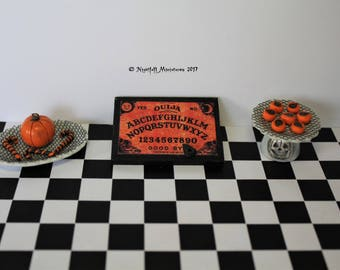 Dollhouse Miniature Witchy Halloween  Ouija Board pumpkin and cakes in 1:12 scale