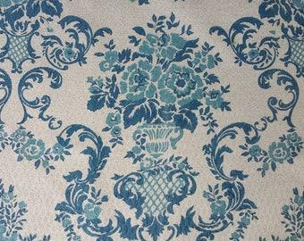Mid Century Barkcloth Brocade Pattern Drapery Pair Drapery Fabric