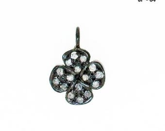 Beautiful Clove Charm , 11 mm Pave Diamond With Sterling Silver