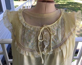 1970's Night Gown, Vintage Lingerie ,Slinky silk like nylon , ecru lace inset and embroidery