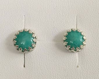 Angeline Quinn Vintage Inspired Turquoise Amazonite and Sterling Silver Stud Earrings