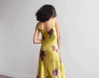 1990s Chartreuse Satin Slip Dress
