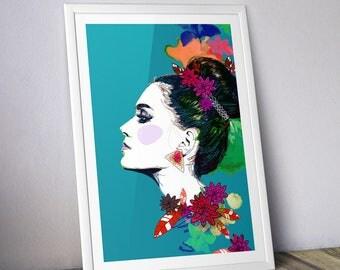 Decoration - Illustration - chic blue/green ethnic A3 poster - poster frame
