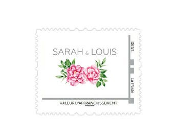 Printable wedding postage stamp - Peonies postage stamp - Personalized postage stamp - Wedding postage stamp - Flowers postage stamp