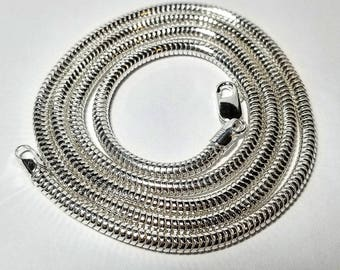 "24"" 3mm Sterling Silver Snake Chain"