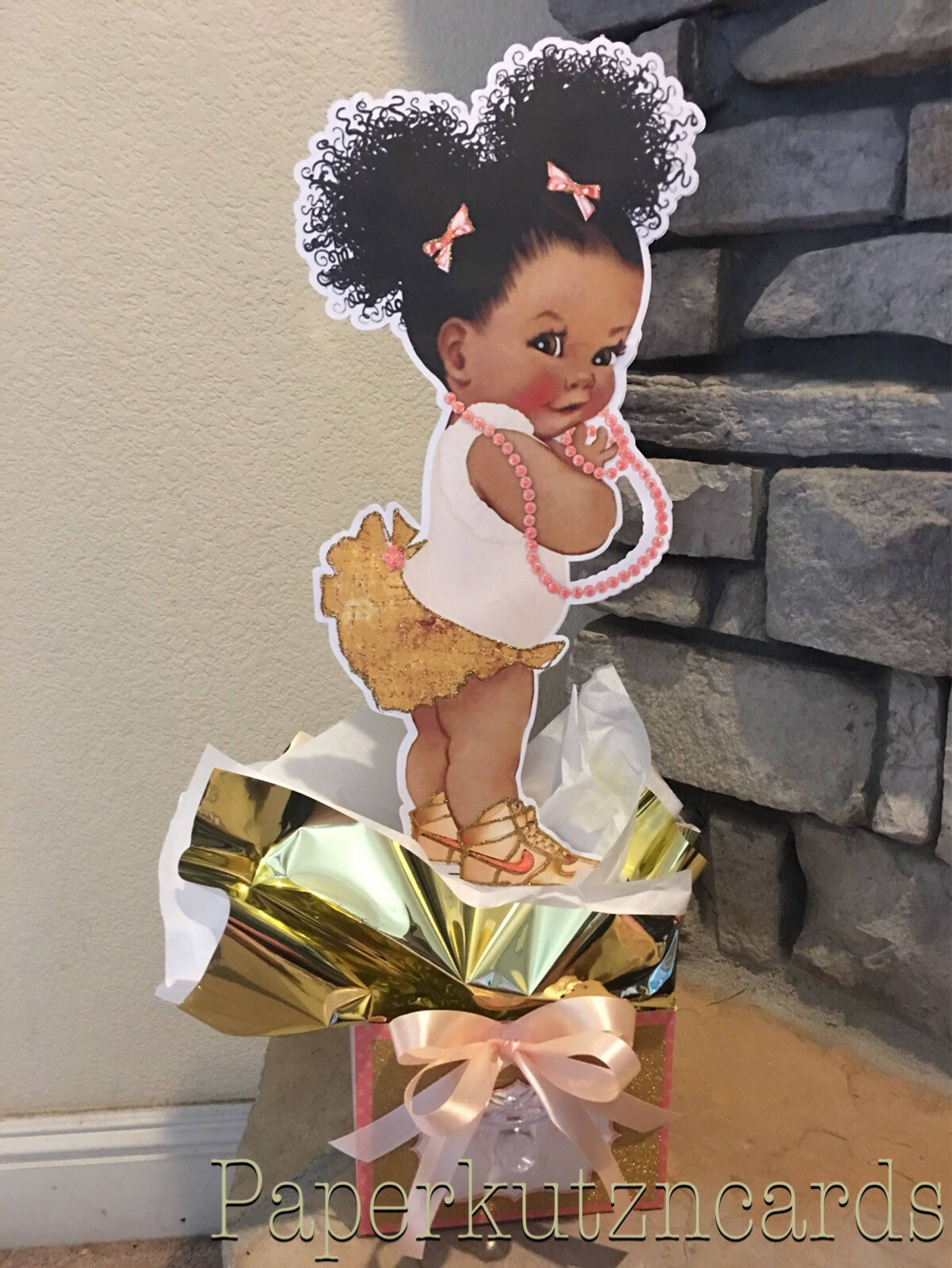 Afro puff baby african american baby Peach gold baby