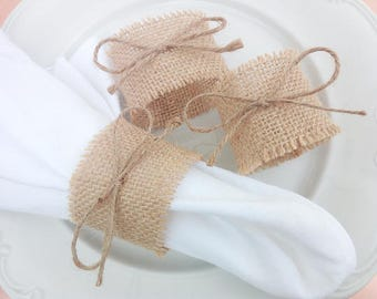 Set of 100 Burlap Wedding Napkin rings