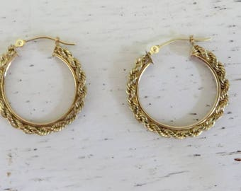 Pair 10k Gold Rope  Twisted Earrings