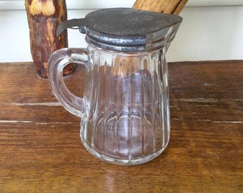 Vintage Glass And Pewter Syrup