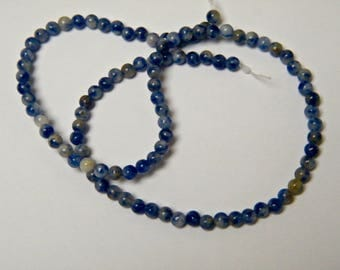 Mineral beads, sodalite, blue, 4 mm round