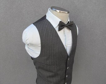 1950s Pinstripe Vest / Vintage Wool Waistcoat 44 Large Lrg L / Men's Suit Vest / Vintage Wedding / 50s Striped Waistcoat / Vtg Charcoal Vest