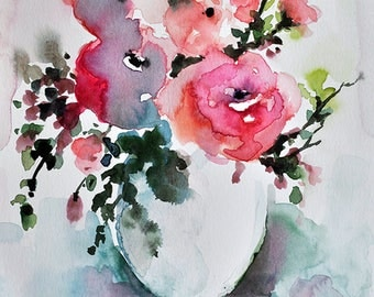 PRINT Of Watercolor Flower Painting, Pink Roses in a Vase, Floral Art 6x8 Inch