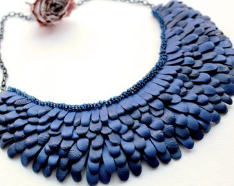 Blue necklace Leather necklace Evening necklace Boho necklace Gypsy style Statement necklace Bib necklace Tribal necklace Fringe necklace
