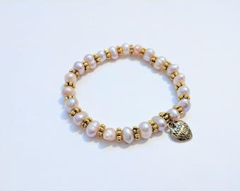 Natural and Gold Freshwater Pearl Stretch Bracelet