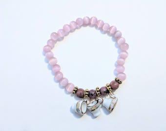 Dainty  Pink Glass Stretch Bracelet with Glass Teacup Charms