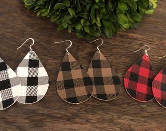 Buffalo Plaid Earrings / faux leather / teardrop / lightweight