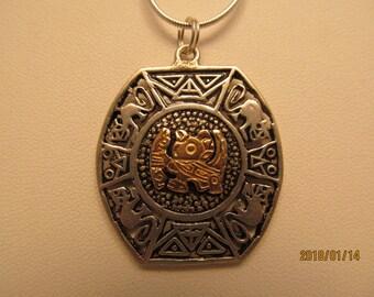 vintage sterling silver 18k Peru pendant handcrafted