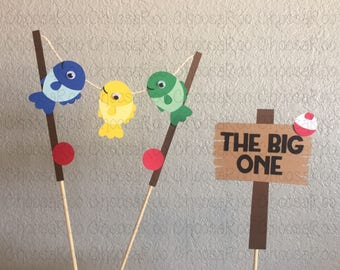 Fish Party - THE BIG ONE Fishing Pole Cake Topper - Handmade! *Made to Order*