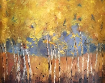 """Impressionistic Painting, """"Fall in Iowa""""  will 20 x 20, gallery wrapped."""