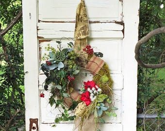 Summer Wreath, Red Wreath, Farmhouse Wreath, Farmhouse Chic, Moss Wreath, Summer Door Wreath, Kitchen Wreath, Handmade, Toile Ribbon