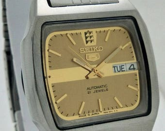 Vintage Genuine SEIKO 5 Watch/Automatic 21 Jewels Day Date Men's Excellent Wrist Watch/Fully Working