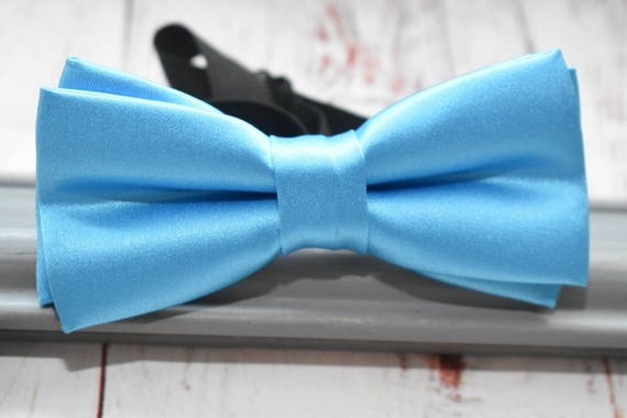 Kids Blue Satin Bow Tie  for Baby, Toddlers and Boys (Kids Bow Ties) with Braces / Suspenders