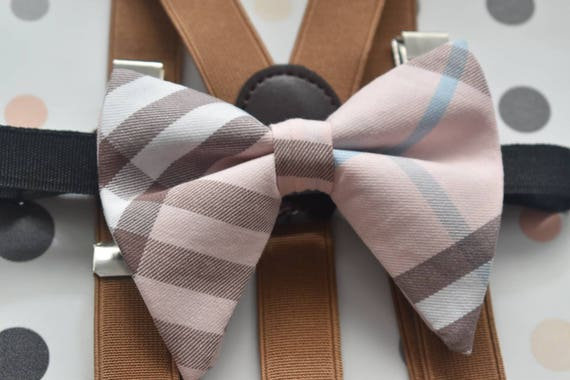 Kids Pink with brown and blue tartan / plaid floppy / butterfly bow tie  for Baby, Toddlers and Boys (Kids Bow Ties) with Braces/ Suspender