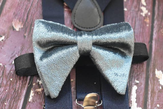Dappper grey velvet butterfly / poppy Bow Tie  for Baby, Toddlers and Boys (Kids Bow Ties) with Braces / Suspenders