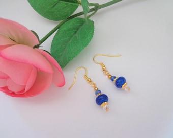 Sapphire Blue Earrings, Two Tone Blue Earrings, Gold Tone Crystal Earrings