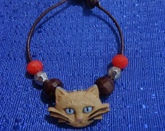 Cat Bracelet,Kitty Bracelet,Kitty Cat Bracelet,Beige Cat Bracelet,Brown Leather Bracelet