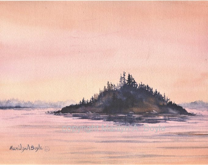 PRINT-PEACH SUNRISE; scene, lake and island, watercolor print on 90 lb watercolor paper, landscape, 7 1/2 x 10 inches, soft colors, wall art