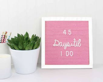 Small Letterboard | 10x10 Letterboard | Pink Letterboard | Letter Board | Wedding Planning Gift | Engagement Gift | Countdown Board