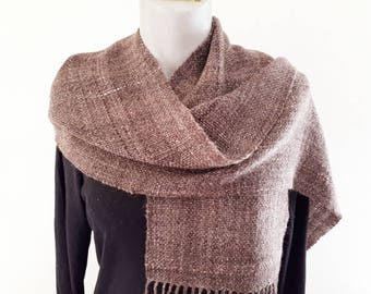 Wool and silk hand spun, hand woven,  scarf, made from the wool of three different coloured sheep