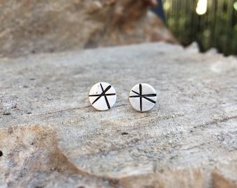 Handstamped sterling silver stud earrings - made to order
