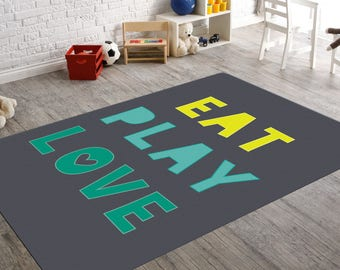 Eat Play Love, Kids Room Rugs, Playroom Rug, Kitchen Rug, Rug With