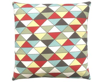 Cushion cover dimension triangles red natural Brown 40 x 40 cm