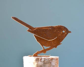 Bushtit Steel Silhouette with Rusty Patina | Rusty Birds Metal Garden Art Fence Topper by Elegant Garden Design
