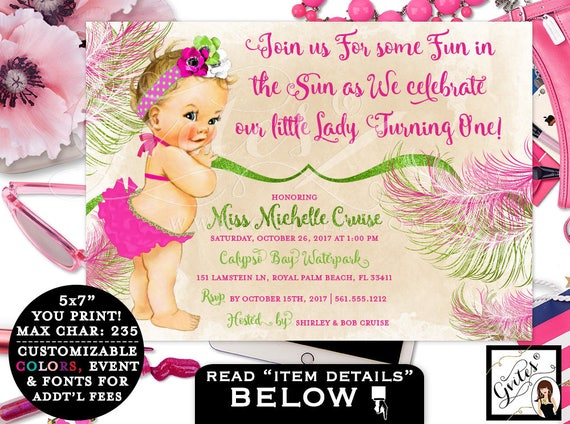 Pool Party FIRST BIRTHDAY invitation, Pink and green, vintage baby join us for some in the sun, PRINTABLE invites customizable. 7x5""