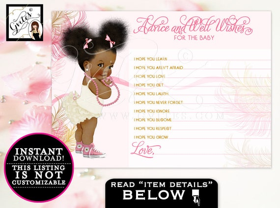 """Baby ADVICE wishes cards, pink gold, african american baby shower girl, diamonds pearls, baby wishes,{Instant Download} 5x7""""2/Per Sheet."""