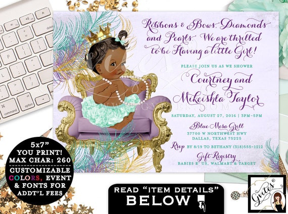 Baby shower invitation purple mint green gold, African American ribbons bows, diamonds pearls, lavender teal gold girl invites, 7x5 Gvites
