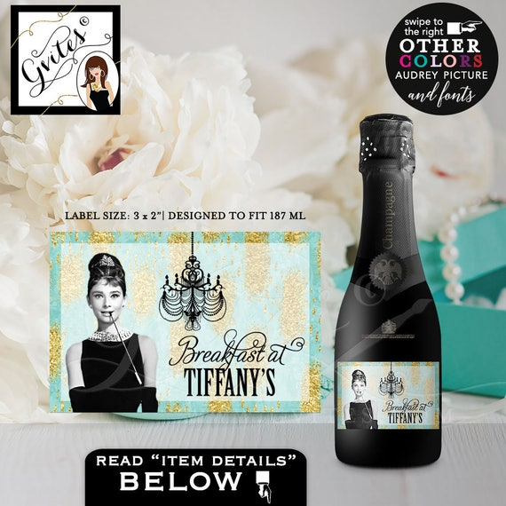 "Breakfast at Tiffany's labels, MINI CHAMPAGNE bottle label, Audrey Hepburn label bridal shower, CUSTOMIZABLE color, text 3x2"" 9/Per Sheet"