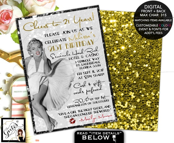 Birthday Marilyn Monroe invitations, 21st bday party, black gold, old hollywood style, glitz glam, printable customizable, double sided 5x7